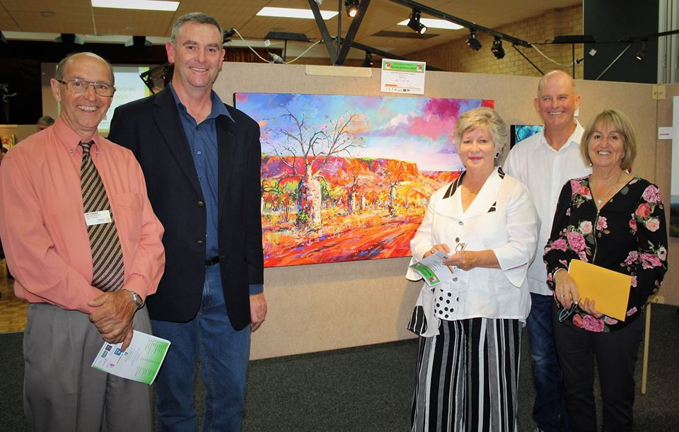 viewing the winner of the harvey art prize with sponsors